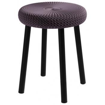 Menší okrasná židlička / stolička, háčkovaný vzhled, fialová, 44 cm