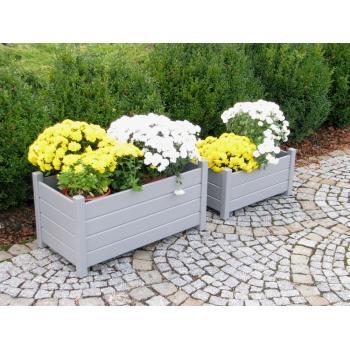 2 ks venkovní dřevěný květináč, masivní dřevo, šedý