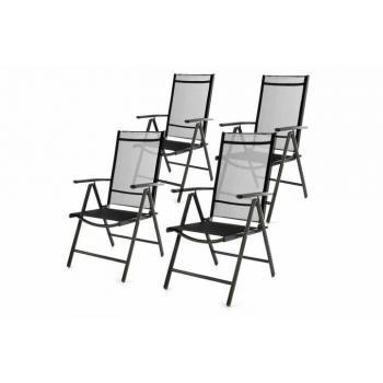 4 ks lehká zahradní skládací židle, prodyšný potah, černá