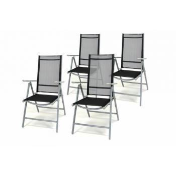 4 ks lehká zahradní skládací židle, prodyšný potah, černá / šedá