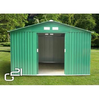 Velký plechový zahradní domek zelený, 311x291x205 cm