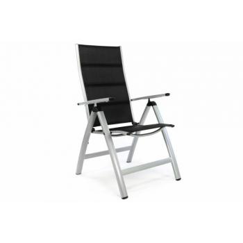 Kvalitní venkovní hliníková židle s textilním potahem, šedá / černá