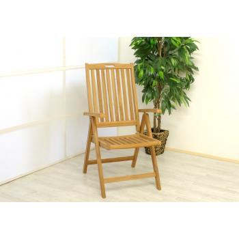 Masivní dřevěná skládací židle z teakového dřeva, s područkami