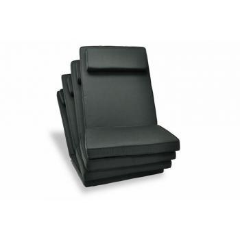 4 ks luxusní vysoké polstrování s polštářkem na zahradí židle, antracit