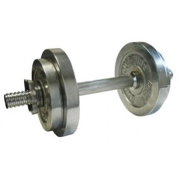 Jednoruční činka s nastavitelnou hmotností, chrom, 10 kg
