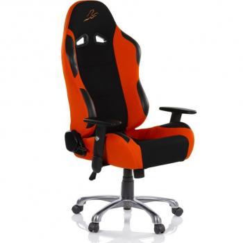 Designová židle na kolečkách, imitace závodní sedačky, černá / oranžová