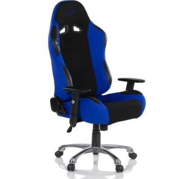Designová židle na kolečkách, imitace závodní sedačky, černá / modrá