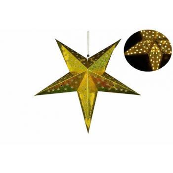 Vánoční svítící papírová hvězda na baterie, časovač, 60 cm, zlatá