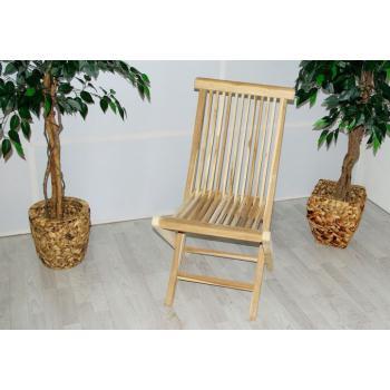 Teaková zahradní židle bez područek, masivní dřevo, skládací