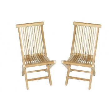 2 ks dřevěná skládací židle  bez područek, teakové dřevo