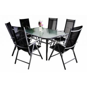 Elegantní venkovní jídelní sestava, skládací židle, pro 6 osob