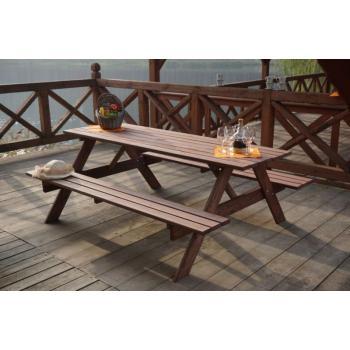 Sestava zahradního stolu s lavicemi, tmavě hnědá, 180 cm