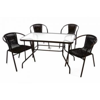 Levná sestava venkovního jídelního nábytku, stůl / 4 židle