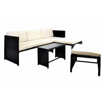 Rohová sestava ratanového nábytku, vč. stolku a polstrování, černá