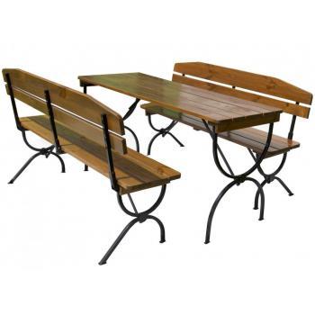 Skládací romantický venkovní nábytek stůl + lavice, kov / dřevo