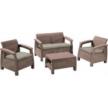Ratanový set nábytku s malým stolkem, vč. podušek, cappuccino