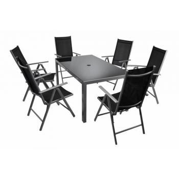 Kovový venkovní nábytek s velkým obdélníkovým stolem, černý