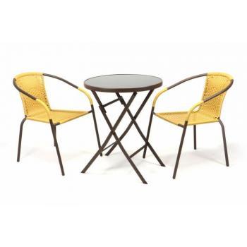 Bistro set s kulatým stolkem, židle s ratanovým výpletem
