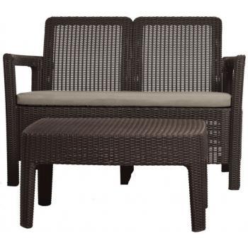 Set ratanového nábytku lavice + stolek, vč. polstrů, hnědý