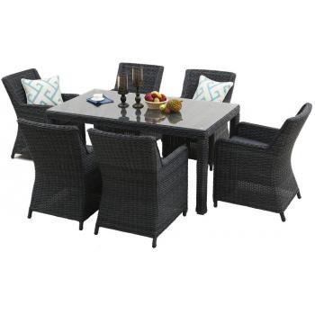 Luxusní sestava vyplétaného ratanového nábytku, obdélníkový stůl