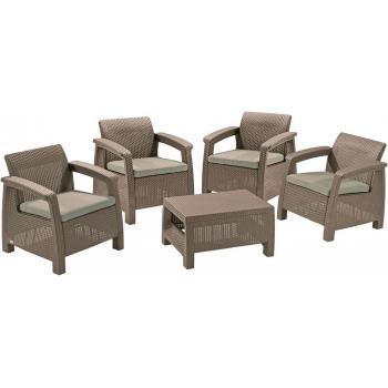 Ratanový venkovní nábytek 4 křesla + stolek, cappuccino