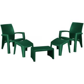 Zahradní plastový nábytek, křesla, podnožky, stolek, tmavě zelený