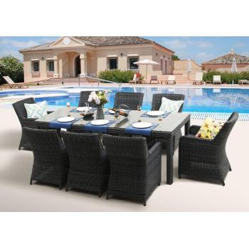 Velký rodinný ratanový nábytek pro 8 osob, stůl + křesla