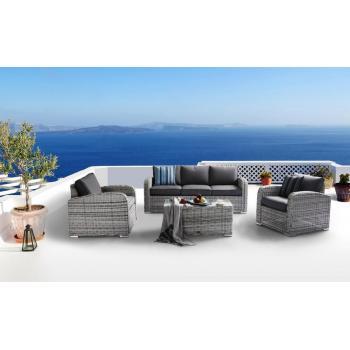 Rodinná sestava luxusního ratanového nábytku, šedivý ratan