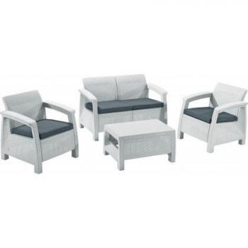 Rodinný set zahradního nábytku z ratanu, bílý / šedé polstry