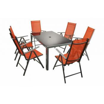 Hliníková sestava zahradního nábytku, stůl se skleněnou deskou, oranžová