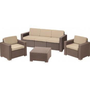 Venkovní ratanový nábytek s větší pohovkou a stolkem, cappuccino