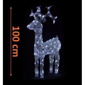 Velký vánoční svítící sob venkovní / vnitřní, 120 LED diod, 95 cm