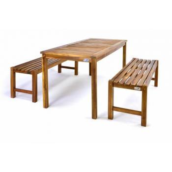 Dřevěný zahradní nábytek, set stolu + 2 lavice, akátové dřevo
