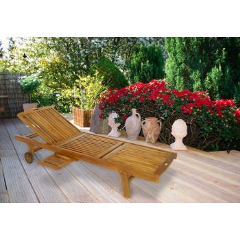 Luxusní relaxační dřevěné lehátko s výsuvným stolkem, akát