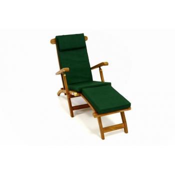 Luxusní skládací týkové lehátko s polstrováním, zelené