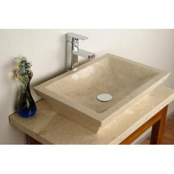 Kamenné umyvadlo do koupelny, obdélníkové, krémové