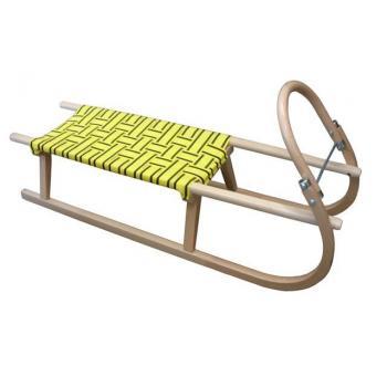 Dřevěné sáňky 110 cm, textilní sedlo- žluté, nosnost 110 kg