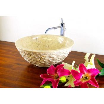 Designové půlkulaté umyvadlo do koupelny, přírodní kamen, krémové