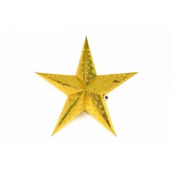 Vánoční svítící hvězda na baterie, časovač, 45 cm, zlatá