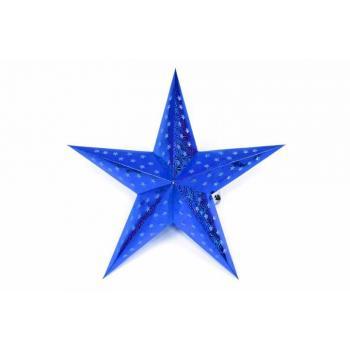 Vánoční svítící hvězda na baterie, časovač, 45 cm, modrá