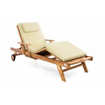 Luxusní dřevěné nastavitelné lehátko vč. polstrování, teak, krémové