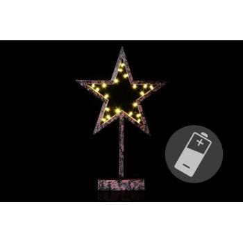 Vánoční svítící dekorace- hvězda na stojánku, bronzový vzhled, 39 cm