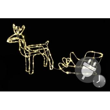Vánoční svítící sob se saněmi před dům / do bytu, 85 cm, časovač
