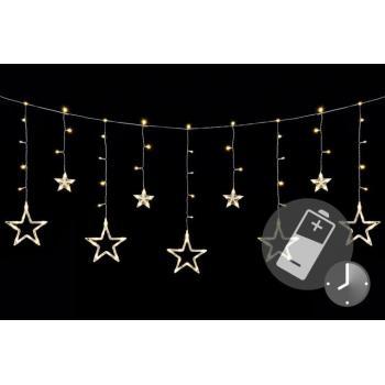 LED řetěz s hvězdičkami na baterie, dálkové ovládání, časovač, 1,65 m