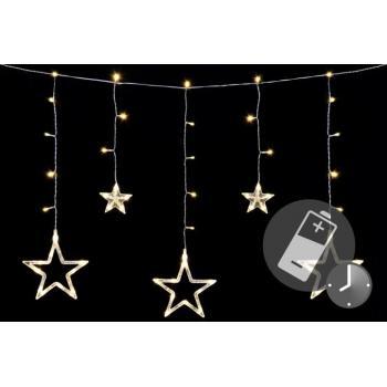 LED řetěz s hvězdičkami na baterie, dálkové ovládání, časovač, 0,6 m