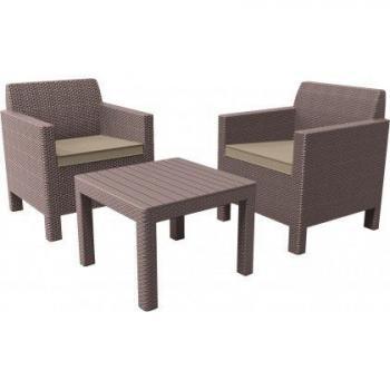 Zahradní ratanový nábytek, 2 křesla + stolek, cappuccino