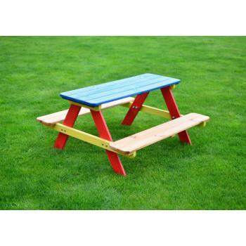 Dětský barevný venkovní set nábytku ze dřeva, stůl + lavice
