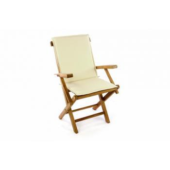 Masivní teaková dřevěná zahradní židle + krémové polstrování