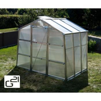 Menší zahradní polykarbonátový skleník, pozink, 251x202x191 cm