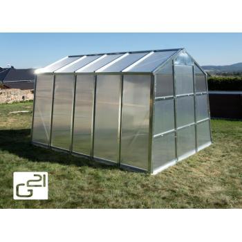 Obdélníkový zahradní polykarbonátový skleník, pozink, 251x202x311 cm